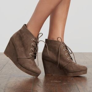 JustFab Palma Taupe Lace Up Wedge Bootie